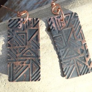 Copper Earrings Embossed Geometric Handmade Tribal